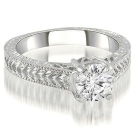 0.50 cttw. 14K White Gold Antique Style Solitaire Diamond Engagement Ring