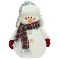 """13"""" Friendly Snowman with Trapper Hat Christmas Tabletop Decoration - WHITE"""