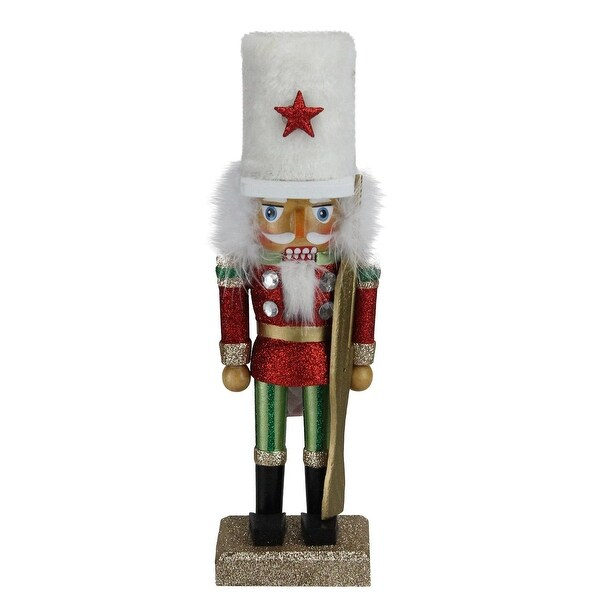 "9.75"" Hollywood Soldier in a White Hat with a Red Star Christmas Nutcracker"