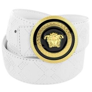 """Hip Hop Medusa Buckle White Leather Greek Design Belt Rapper Hip Hop Custom 46"""""""