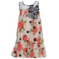 Baby Girls Coral Roses Striped Bow Accent Sleeveless Dress 3M