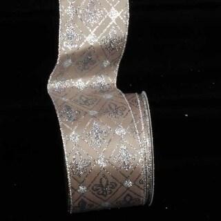 "Taupe Glitter Fleur De Lis Diamond Print Wired Craft Ribbon 3"" x 20 Yards"