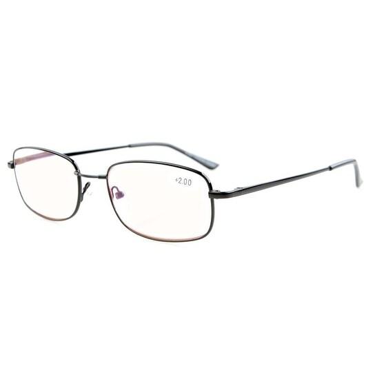 Eyekepper Bridge-flex Memory Titanium Unisex Spring Hinges Reading Glasses Amber Tinted Lenses+3.0