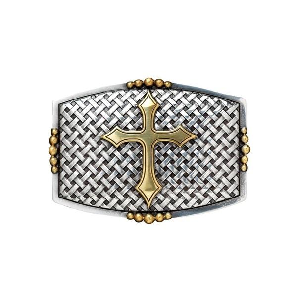 Nocona Western Belt Buckle Mens Rectangle Cross Basketweave - 2 3/4 x 3 3/4