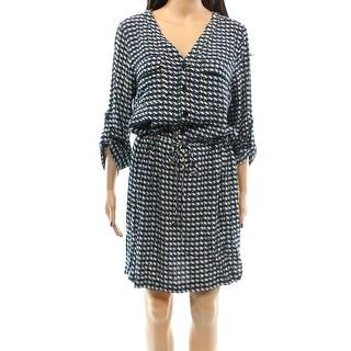 Max Studio NEW Blue Green Women's Size XS Seamed Printed Shirt Dress