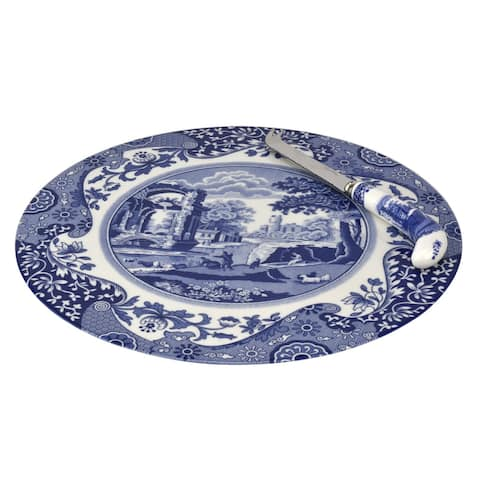 Spode Blue Italian 2 Piece Cheese Plate with Knife - Blue/White