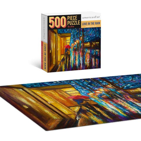 """Americanflat 500 Piece Puzzle 18""""x24"""" - Love in the Rain by Olena Art - 18x24"""