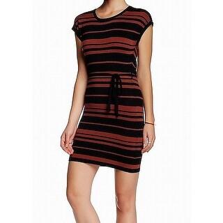 Papillon Brown Black Striped Women's Size Medium M Sweater Dress