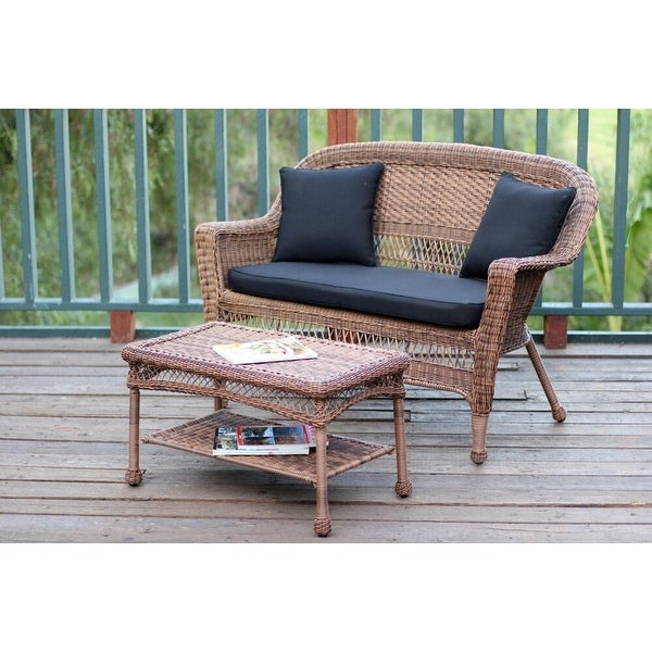 2 Piece Oswald Honey Wicker Patio Loveseat And Coffee Table Set Black Cushion Brown Free Shipping Today 22725734