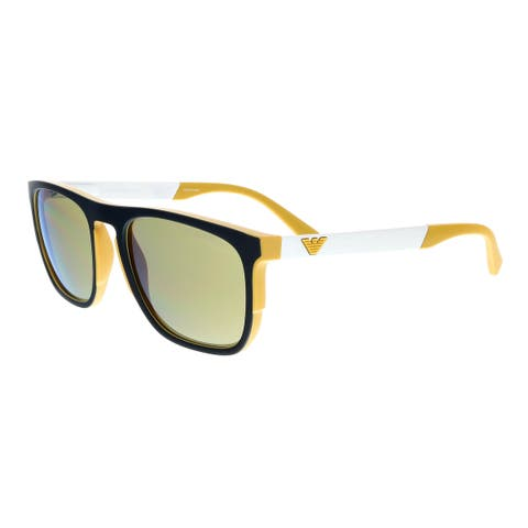 6b3403d46888 Emporio Armani EA4114 56755A Black/White/Yellow Rectangle Sunglasses -  55-20-