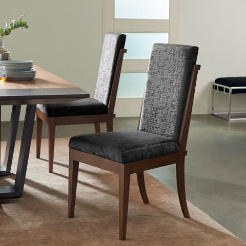 "Contemporary Wood and Black Velvet Dining Chair, 20"" x 40"" - 21 x 26 x 41"