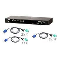 Aten BU1833B ATEN 8-Port USB/PS2 Combo KVM Switch with Cables CS1308KIT (Black)