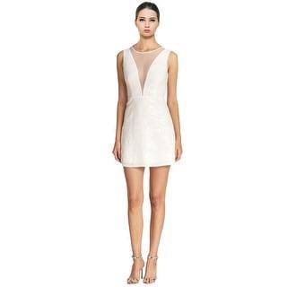 BCBG MaxAzria Selina Sequined Illusion Neck V-Back Cocktail Evening Dress - 4