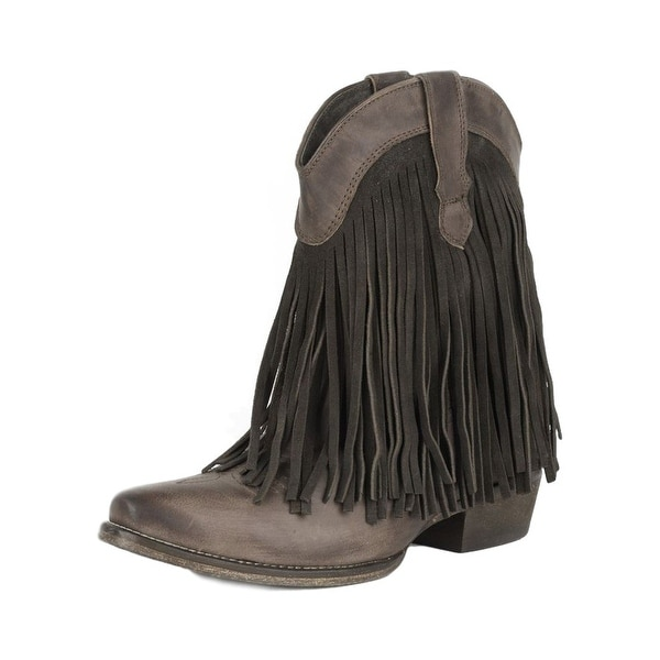 Roper Western Boots Womens Suede Fringe Brown