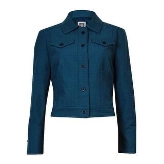 Anne Klein Women's Cotton Blend Seersucker Buttoned Jacket - mallard green