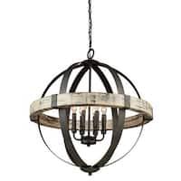 Artcraft Lighting AC10016 Castello 6 Light Wood Globe Chandelier - 27 Inches Wide - aspen wood/black
