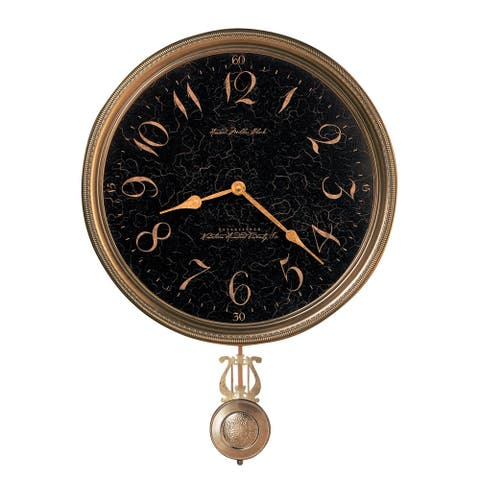 Howard Miller Paris Night Elegant, Vintage, Glam Style Distressed Wall Clock with Pendulum