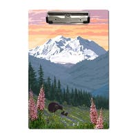 Denali Park AK - Bears Spring Flowers - LP Artwork (Acrylic Clipboard)