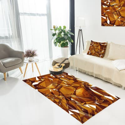 Designart '3D Gold Crystal Background' Abstract Area Rug