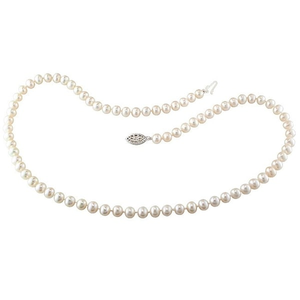 Miadora Sterling Silver 5-6 mm Cultured Freshwater Pearl Necklace (18 or 24 inch). Opens flyout.