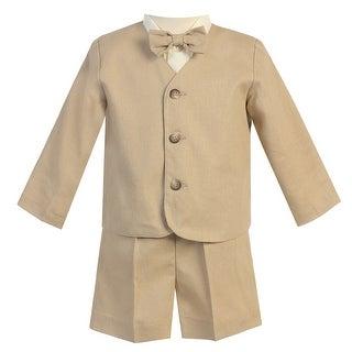 Little Boys Khaki Eton Short Formal Ring Bearer Easter Suit 2T-5