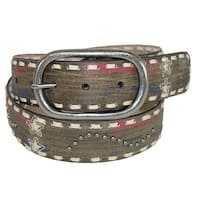 Roper Women's Distressed Leather Americana Belt with Stars and Studs