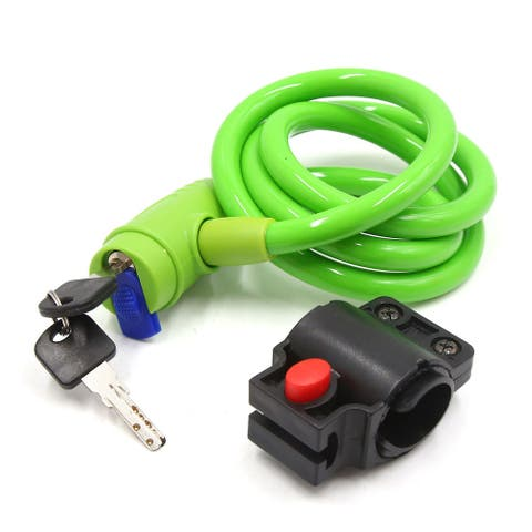Universal Green Bike Bicycle Cable Basic Self Coiling Wire Lock Kit w 2 Keys