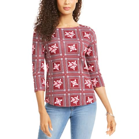 Charter Club Women's Tile-Print Top Red Size Large