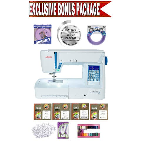 Janome Skyline S5 Computerized Sewing Machine w/ Exclusive Platinum Series Sewing Package!