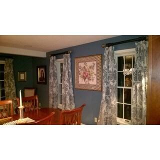 Exclusive Fabrics Magdelena Silver/ Blue Faux Silk Jacquard Curtain Panel
