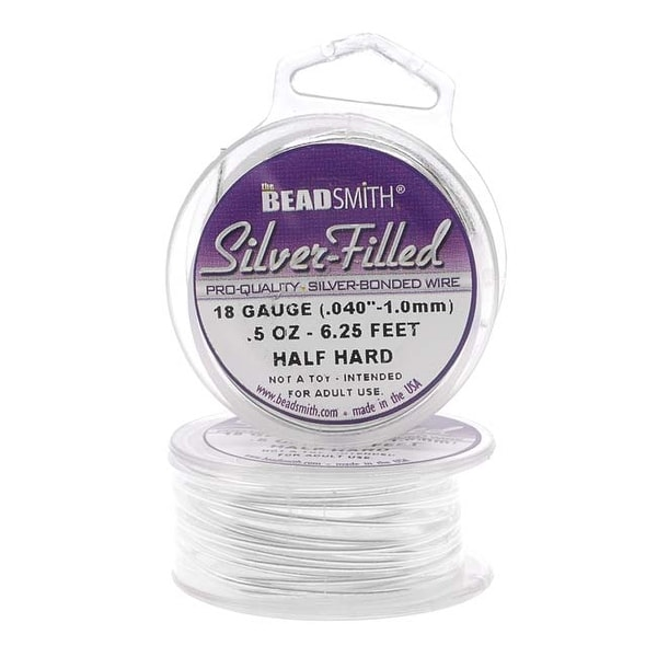 Beadsmith Silver Filled Wire - 18 Gauge Round Half Hard - 0.5oz (6.25 Feet)