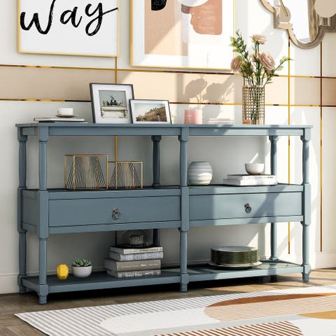 Dark Blue Console Table with Two Drawers