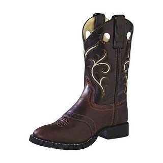 Old West Cowboy Boots Boys Girls Kids Round Rubber Brown CW2519Y