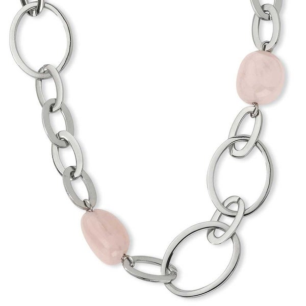Chisel Stainless Steel and Rose Quartz Necklace (18 mm) - 36 in