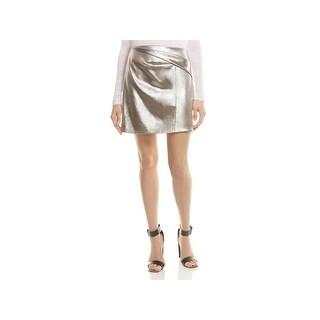 Halston Heritage Womens Mini Skirt Metallic Draped - 10