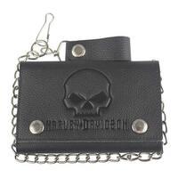"Harley-Davidson Men's Skull Embossed Trucker Tri-Fold Plus Wallet XML4719-BLACK - 5.75"" x 3.75"""