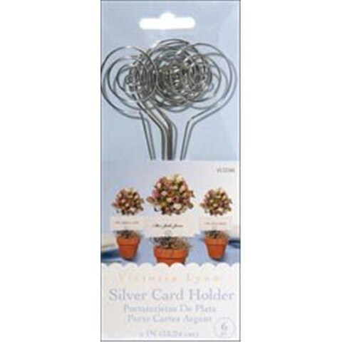 202453 Wire Card Holders 6 in. 6-Pkg-Silver