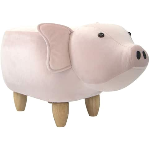 Critter Sitters 15-In. Seat Pink Pig Animal Ottoman, Furniture for Nursery, Bedroom, Playroom, and Living Room Decor