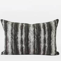 "G Home Collection Luxury Brown Mix Color Stripe Pattern  Metallic Chenille Pillow 14""X20"""