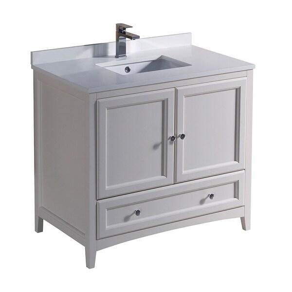 "Fresca FCB2036-U Oxford 36"" Free Standing Vanity Set with Wood Cabinet, Quartz Vanity Top, and Single Undermount Sink"