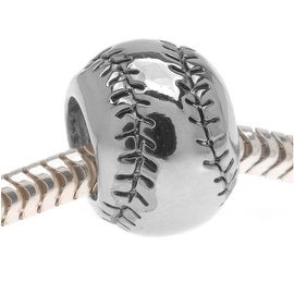 Silver Tone Baseball Or Softball - European Style Large Hole Bead -