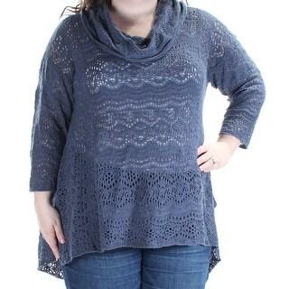 STYLE & COMPANY Womens New 1706 Blue Lace 3/4 Sleeve Cowl Neck Sweater XXL B+B