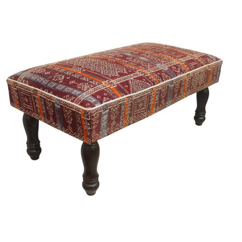 "Vintage Antique Turkman Hetherin Kilim Upholstered Settee - 48""x25""x21"""