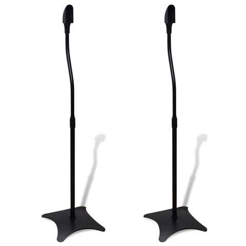 VidaXL Universal Speaker Stand Black Surround Mounting Hole Adjustable Speech