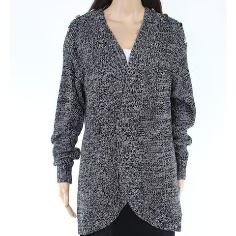 Charter Club Womens Sweater Gray Black Size 3X Plus Cardigan V-Neck