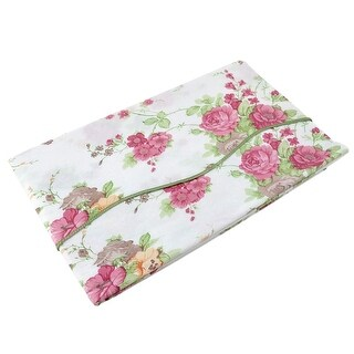Home Square Rose Pattern Oil-proof Tablecloth Table Cloth Cover Pink 35x35 Inch