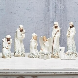 8 piece Lace Trim Decorative Nativity Set with Angel and Camel 8.25""