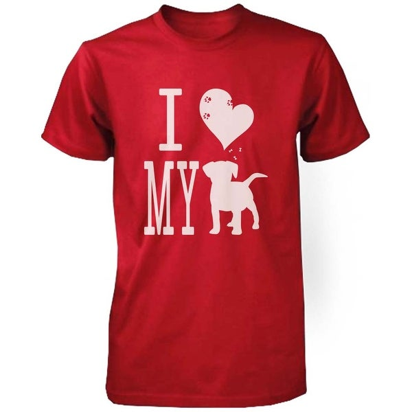 Men's Cute Graphic Statement T-Shirt - I Love My Dog Red Graphic Tee