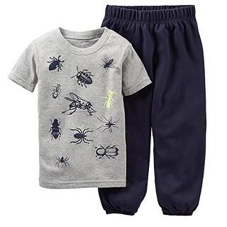 Carter's Little Boys' Short Sleeve 2 Piece Pajama Cotton Set- Bugs- 4 Kids - gray