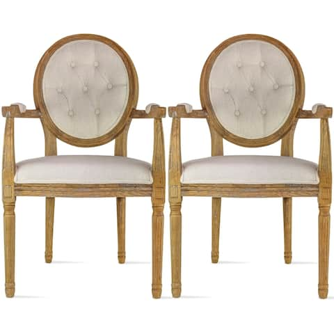 Set of 2 Cream Color Upholstered Button Tufted Back Fabric Dining Modern Arm Chair With Padded Seat Solid Wood Legs
